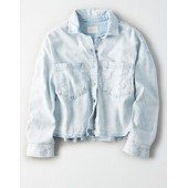 AE Cropped Denim BUTTON-DOWN SHIRT