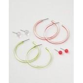 AEO Neon Stud and Hoop Earrings 4-Pack