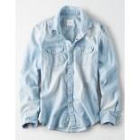 AE Distressed Denim Western Button Up Shirt