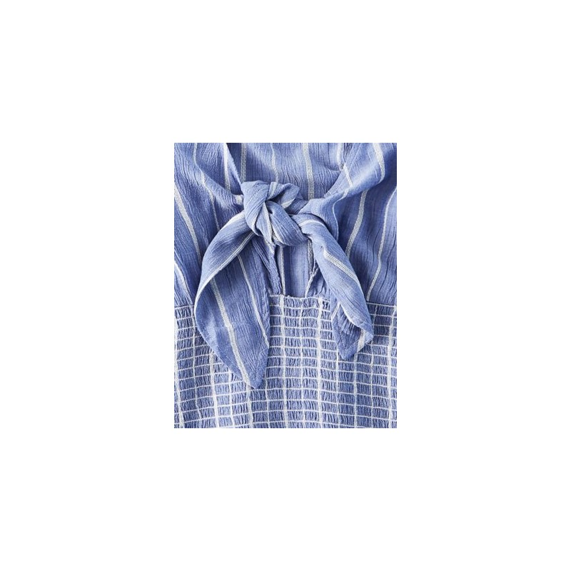 AE Long Sleeve Smocked Tie Front Top