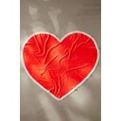 Oversized Tassel Trim Heart Beach Towel