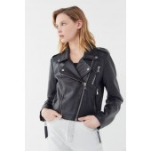 UO Faux Leather Cropped Moto Jacket