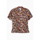 UO Ornate Paisley Rayon Short Sleeve Button-Down Shirt