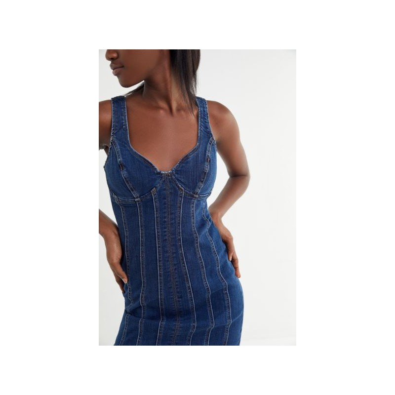 Bardot Miami Denim Contrast Stitch Midi Dress