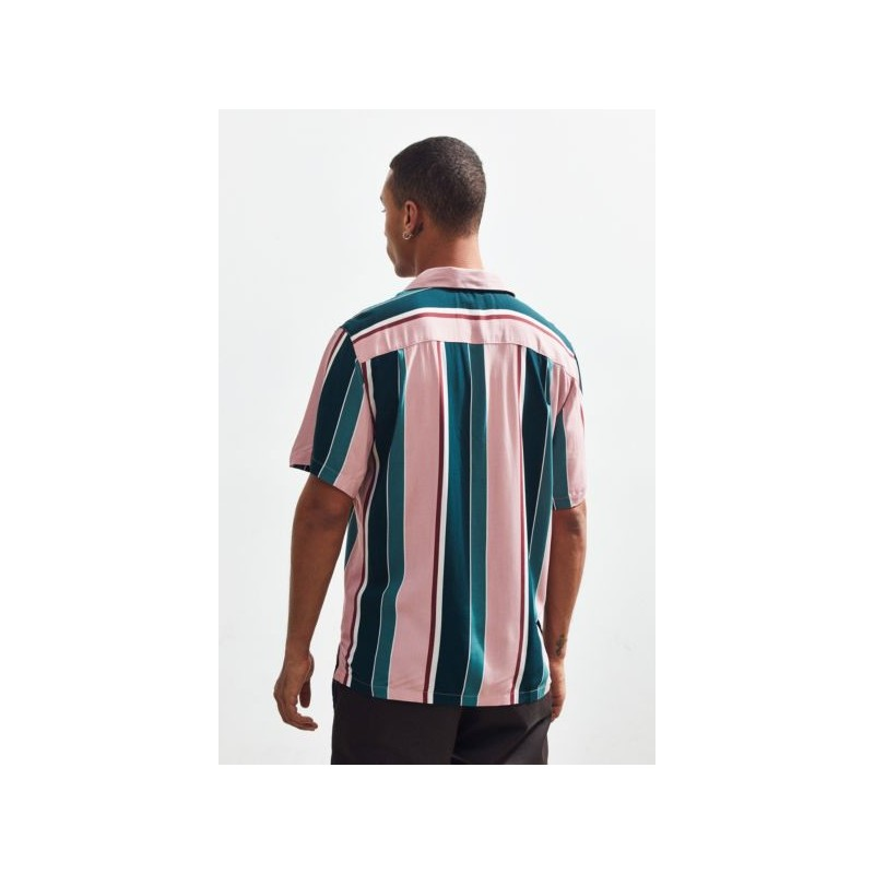 UO Multicolor-Stripe Rayon Short Sleeve Button-Down Shirt
