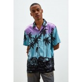 UO Palm Print Short Sleeve Button-Down Shirt