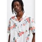 UO Printed Sheer Short Sleeve Button-Down Shirt
