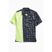 UO Split Satin Short Sleeve Button-Down Shirt
