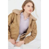 UO Faux Suede Sherpa Bomber Jacket