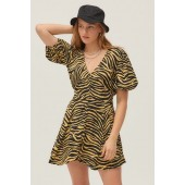 Faithfull The Brand Ilia Zebra Print V-Neck Mini Dress