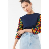 Urban Renewal Remade Crochet Sleeve Cropped Sweatshirt
