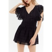 UO Cassie Embroidered Eyelet Tie-Back Romper