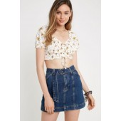 BDG Indigo Belted Denim Mini Skirt