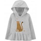 Baby Girl Leopard Hooded Jersey Tee