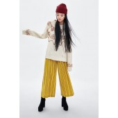 WIDE CROPPED PANTS WITH BUTTONS