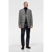 PLAID DOUBLE BREASTED OVERCOAT