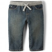 Baby And Toddler Boys Basic Pull On Straight Jeans - Aged Stone Wash