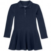 Girls Uniform Long Sleeve Knit Polo Dress