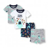 Baby And Toddler Boys Short Sleeve Feeding Frenzy Tops And Bottoms 4-Piece PJ Set