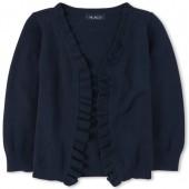 Girls Uniform Long Sleeve Ruffle Open-Front Cardigan