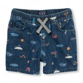 Toddler Boys Pull-On Beach Print Denim Shorts