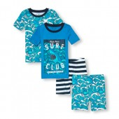 Boys Short Sleeve Surf Club Tops And Shorts 4-Piece PJ Set