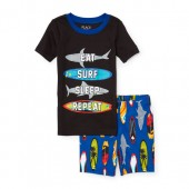 Boys Short Sleeve Glow-In-The-Dark Surf Life Top And Printed Shorts PJ Set