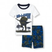 Boys Short Sleeve Dancing Dino Graphic Top And Printed Shorts PJ Set