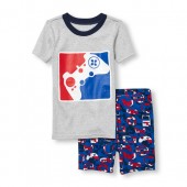 Boys Short Sleeve Glow-In-The-Dark Game Controller Top and Printed Shorts Snug-Fit PJ Set