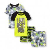 Boys Short Sleeve I Got Next Bro Tops And Printed Shorts 4-Piece PJ Set