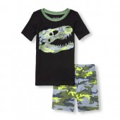 Boys Short Sleeve Camo Dino Top And Shorts Snug-Fit PJ Set