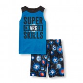 Boys Sleeveless Super Charged Skills Lightning Graphic Top and Sports Print Shorts PJ Set