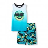 Boys Sleeveless Tropical Emoji Face Top and Printed Shorts PJ Set