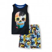 Boys Sleeveless Beach Skull Top and Printed Shorts PJ Set