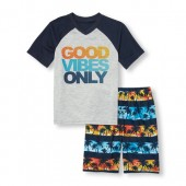 Boys Short Raglan Sleeve Good Vibes Only Top And Palm Print Shorts PJ Set