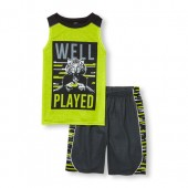 Boys Sleeveless Well Played Gamer Tiger Top and Printed Shorts PJ Set