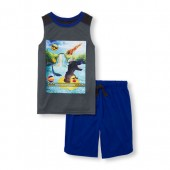 Boys Sleeveless Hashtag Pool Party Vibez Dino Snap Top and Solid Shorts PJ Set