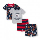 Baby And Toddler Boys Short Sleeve This Is My Game Face Tops And Bottoms 4-Piece PJ Set