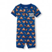 Baby And Toddler Boys Short Sleeve Mommys Little Monkey Print Cropped Stretchie