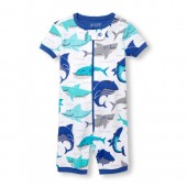 Baby And Toddler Boys Short Sleeve Shark Print Cropped Stretchie