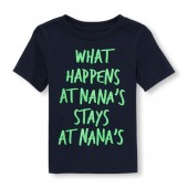 Toddler Boys Short Sleeve Neon What Happens At Nanas Stays At Nanas Graphic Tee