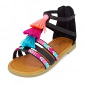 Toddler Girls Embroidered Tassel Zahara Sandal