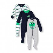 Baby And Toddler Boys Long Sleeve Later Gator Footed Stretchie 3-Pack