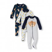 Baby And Toddler Boys Long Sleeve Monkey Stripe Footed Stretchie 3-Pack