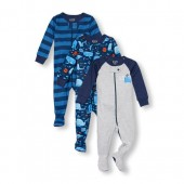 Baby And Toddler Boys Long Sleeve Whale Hello Dad Footed Stretchie 3-Pack