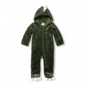 Baby Boys Long Sleeve Dino Hooded Faux-Fur Bunting