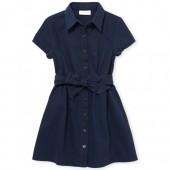 Girls Uniform Short Sleeve Button Front Belted Woven Safari Dress