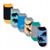 Toddler Boys Dino Stripe Ankle Socks 6-Pack