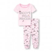 Baby And Toddler Girls Short Sleeve Foil Daddys Little Princess Top And Printed Pants Snug-Fit PJ Set