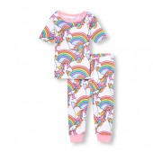 Baby And Toddler Girls Short Sleeve Glitter Rainbow Unicorn Printed Top And Pants Snug-Fit PJ Set